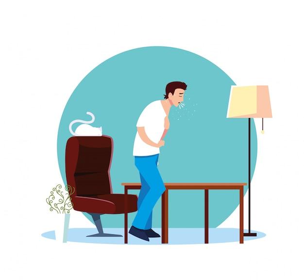 Homme se sentant malade à la maison vector design