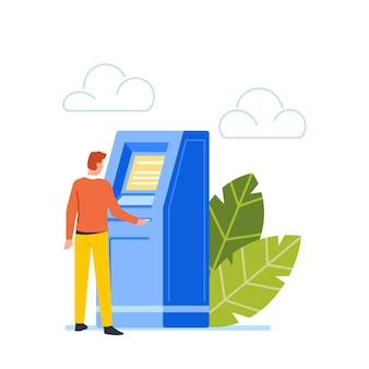 L'homme se tient au guichet automatique insérez la carte de crédit dans la fente, le personnage veut retirer de l'argent à partir d'un guichet automatique, un homme d'affaires visite une banque pour un service d'argent de transaction ou une banque. illustration vectorielle de dessin animé