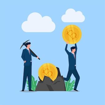L'homme se tient avec une pioche tandis que d'autres apportent une métaphore de la crypto-monnaie de l'exploitation minière.
