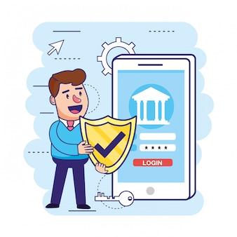 Homme avec sécurité bouclier et smartphone avec banque numérique