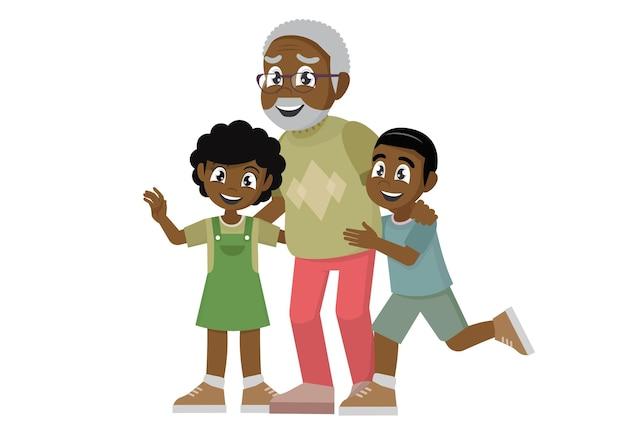 Homme senior africain debout avec petit-fils et petite-fille