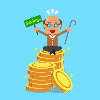 Homme senior de dessin animé avec des pièces d'argent