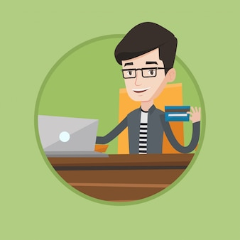 Homme shopping illustration vectorielle en ligne.