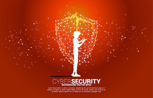L'homme de silhouette utilise le téléphone mobile et l'icône de bouclier de protection du réseau de polygone de ligne de connexion dot. concept de sécurité et de sûreté de garde