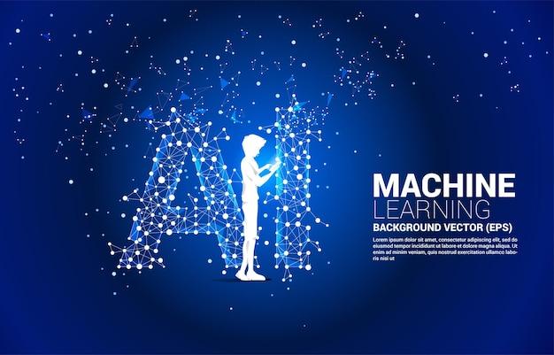 L'homme de silhouette de vecteur utilise un téléphone mobile. concept pour l'apprentissage automatique et l'intelligence artificielle.