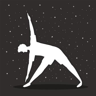 Homme de silhouette de yoga