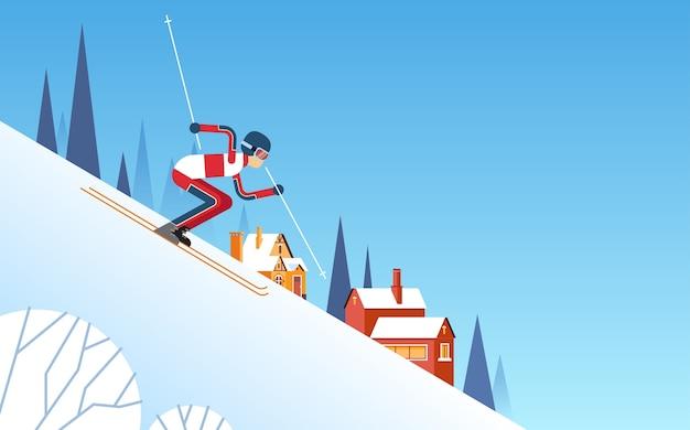 Homme, ski, descente