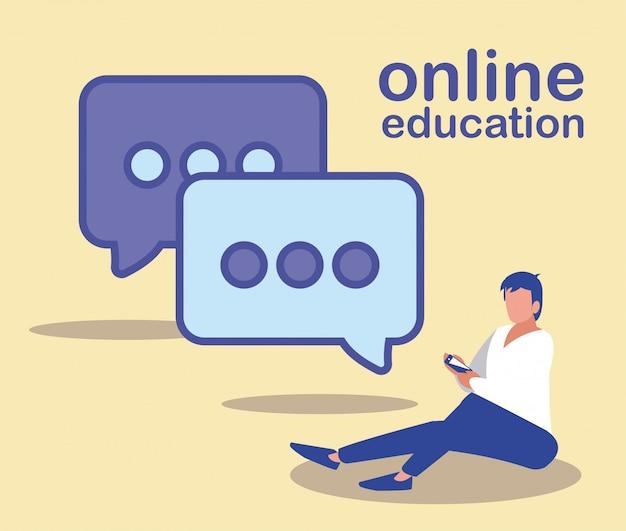 Homme avec smartphone et bulle, éducation en ligne