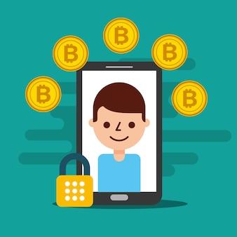 Homme de smartphone sur écran cyber sécurité bitcoin