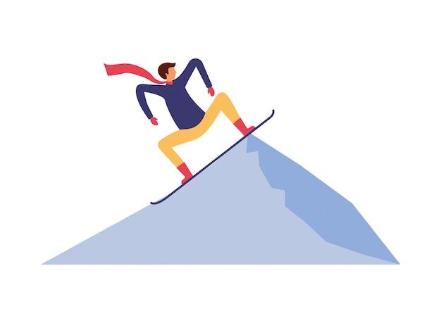 Homme avec snowboard dans le paysage d'hiver