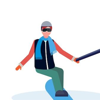 Homme snowboarder
