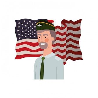Homme soldat de guerre avec drapeau des états-unis