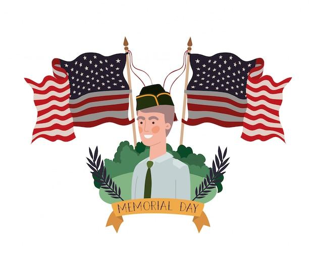 Homme soldat de guerre avec paysage et drapeau des états-unis