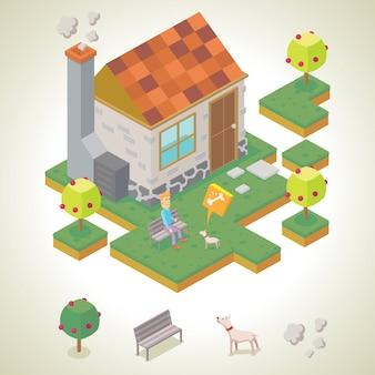 Homme et son animal de compagnie en face de sa maison