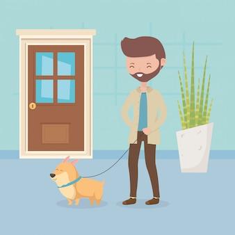 Homme avec son chien promenant des soins pour animaux de compagnie