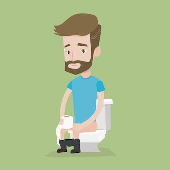 Homme souffrant de diarrhée ou de constipation.