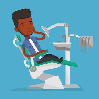 Homme souffrant d'illustration de fauteuil dentaire.