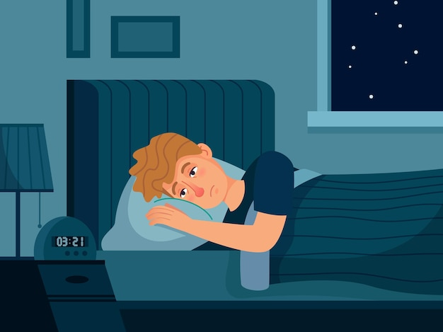 Homme souffrant d'insomnie.