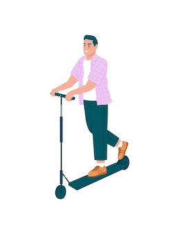 Homme souriant sur caractère détaillé plat e-scooter. heureux gars à cheval sur un véhicule électrique. activité de plein air pour le dessin animé isolé de printemps