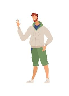 Homme souriant en illustration plate de vêtements décontractés avec geste de salutation