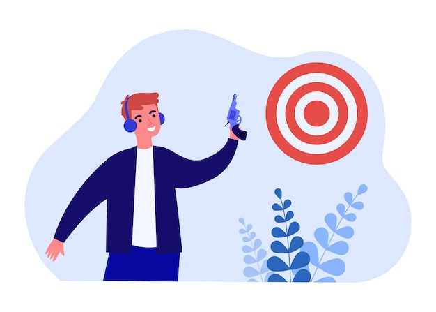 Homme souriant tenant une arme à feu sur la cible de visée. tireur masculin heureux dans des écouteurs avec le pistolet au tournoi de championnat de sport. illustration vectorielle plane. concept de réalisation des objectifs.