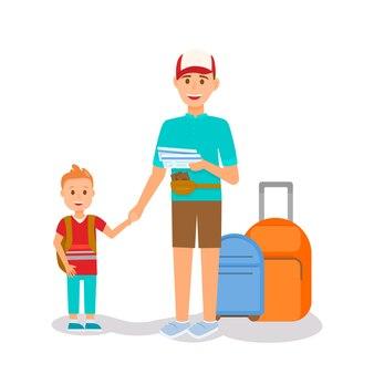 Homme souriant tenant un petit garçon à la main et des billets
