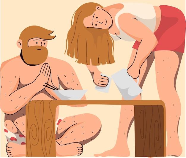 Homme en sous-vêtements et femme en vêtements décontractés ayant de la nourriture