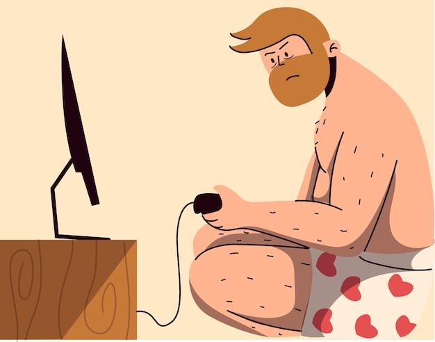 Homme en sous-vêtements jouant avec la télévision
