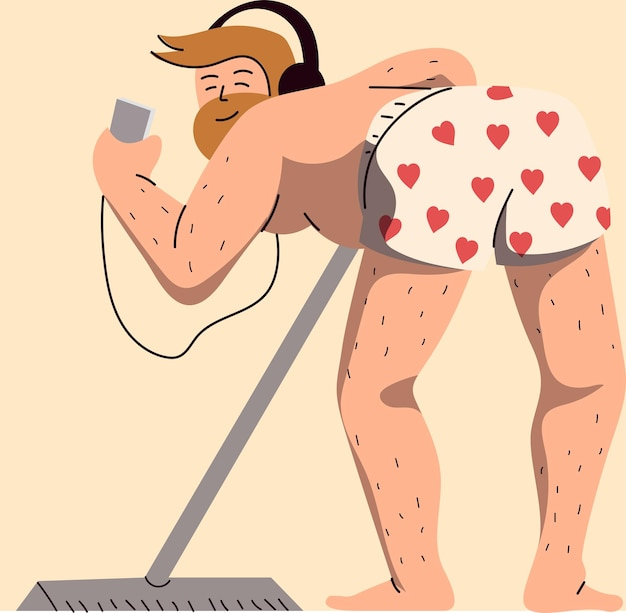 Homme en sous-vêtements, nettoyer et écouter de la musique