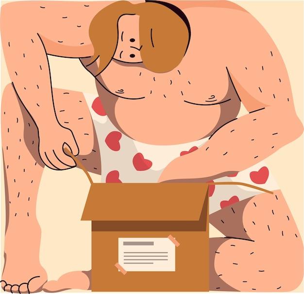 Homme en sous-vêtements ouvrant un paquet