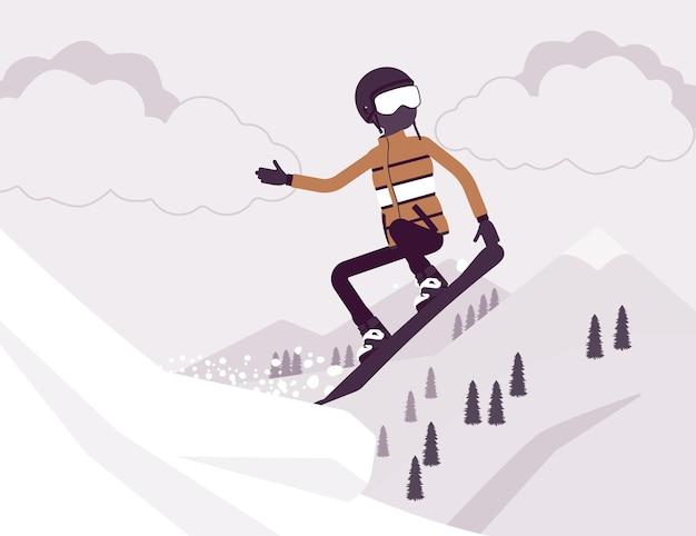Homme sportif actif à cheval sur le snowboard, sautant
