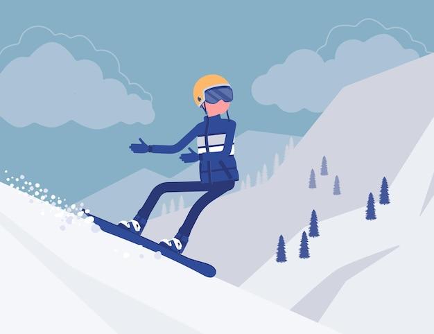 Homme sportif actif à cheval sur le snowboard