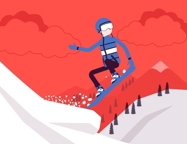 Homme sportif actif faisant du snowboard, sautant, s'amusant en plein air en hiver sur une station de ski avec nature enneigée et vue sur la montagne, tourisme hivernal et loisirs