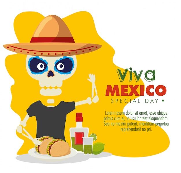 Homme squelette avec tacos et tequila à événement de célébration