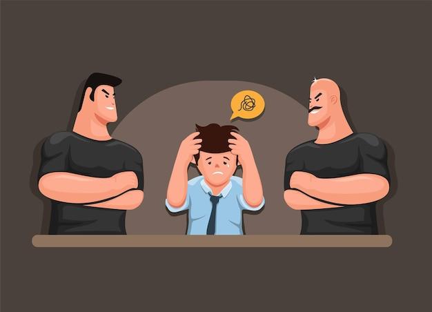 Homme stressé avec des collecteurs d'impôts et de dettes