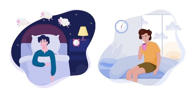 Homme stressé souffrant de l'ensemble de l'insomnie.