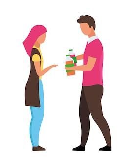 Homme suggérant des boissons à une femme personnages vectoriels de couleur semi-plat