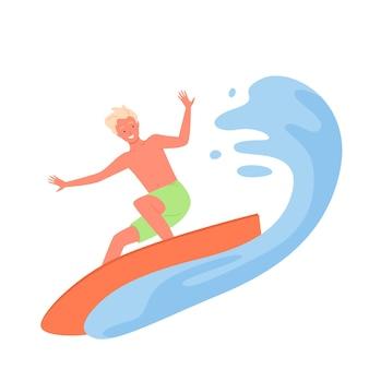 Homme de surf, illustration vectorielle d'été sport extrême activité. personnage de dessin animé jeune homme surfeur heureux à cheval sur une planche de surf sur une mer tropicale ou une vague océanique, sports nautiques de plage balnéaire isolés sur blanc