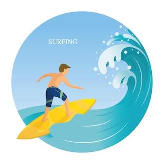 Homme surfant dans la mer avec de grosses vagues