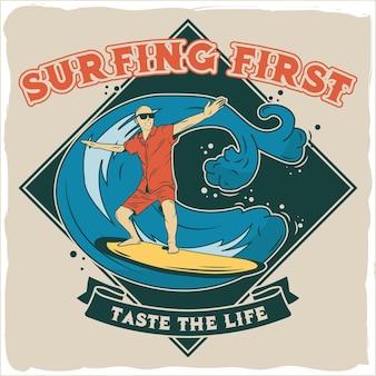 Homme surfant dans la mer avec une vague