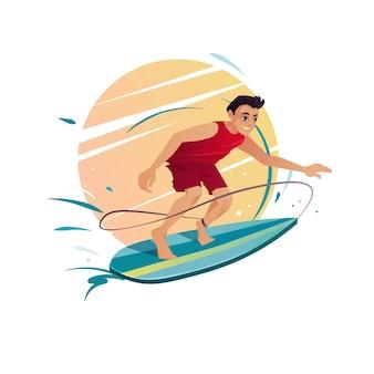 Homme surfant sur planche de surf