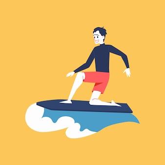 Un homme surfeur monte dans la vague et surfe.