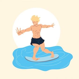 Homme surfeur sur vague, activité de plein air