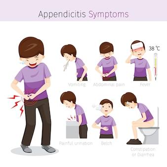 Homme avec des symptômes d'appendicite