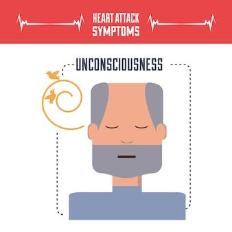 Homme avec des symptômes de crise cardiaque et de l'état