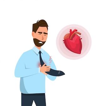 L'homme a des symptômes précoces de crise cardiaque