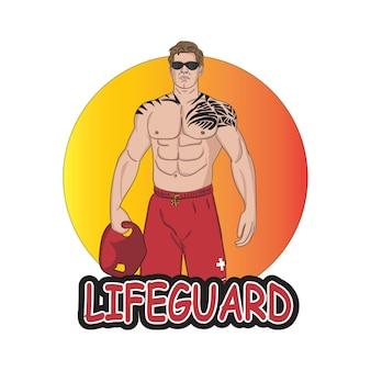 Homme tatoué de logo de personnage de mascotte de dessin animé sur la plage comme sauveteur