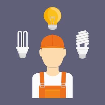 Homme de technicien électrique, illustration vectorielle
