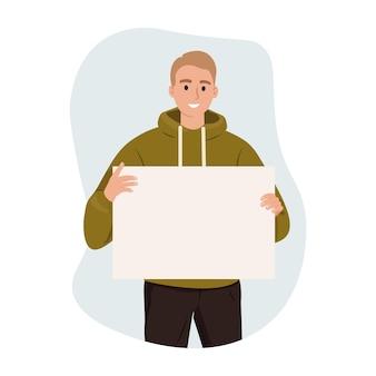 Homme tenant une bannière vide avec une place pour le texte vecteur de protestation de publicité d'entreprise de promotion