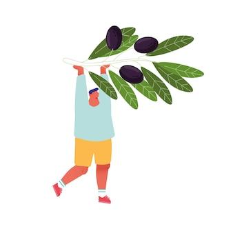 Homme tenant une branche d'olivier aux baies noires isolé sur fond blanc.